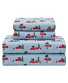 Microfiber Holiday Print Twin Sheet Set