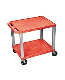"Offex 26"" Two Flat Shelves AV Electric Cart Nickel Legs, Red OF-WT26RE-N"