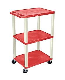 """Offex 42"""" Three Flat Shelves AV Electric Cart - Putty Legs, Red"""