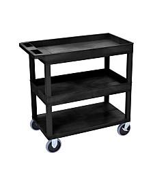 "Clickhere2shop 32"" x 18"" Two Tub/One Flat Shelves Utility Cart - Black"