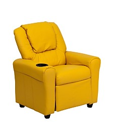 Offex Contemporary Yellow Vinyl Kids Recliner with Cup Holder and Headrest