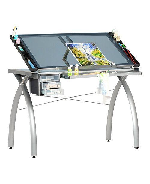 Clickhere2shop Futura Craft Station - Silver / Blue Glass