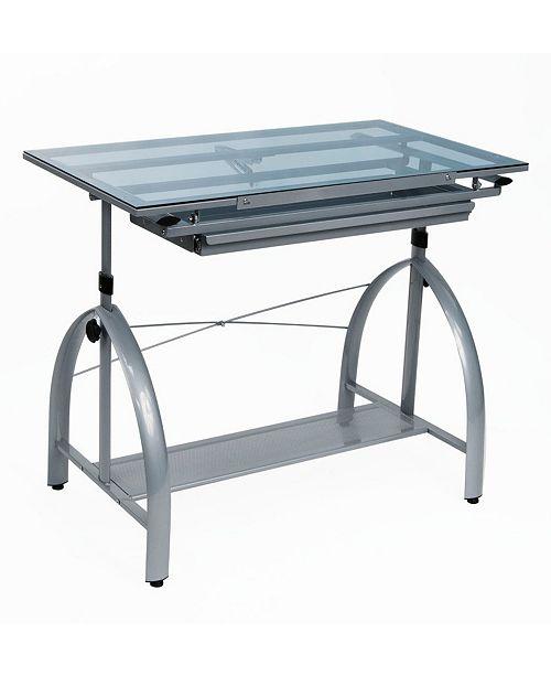 Clickhere2shop Avanta Drafting Table - Silver / Blue Glass