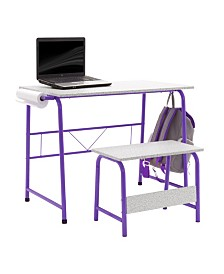 Offex Project Center, Kids Craft Table with Bench - Purple/Spatter Gray