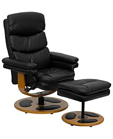 Offex Contemporary Black Leather Recliner and Ottoman with Wood Base