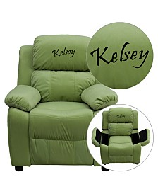 Offex Personalized Deluxe Heavily Padded Red Microfiber Kids Recliner with Storage Arms