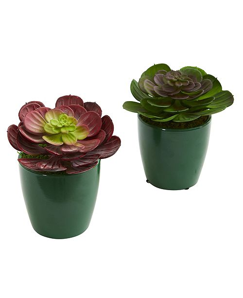 Nearly Natural Echeveria Succulent Artificial Plant in Green Planter, Set of 2