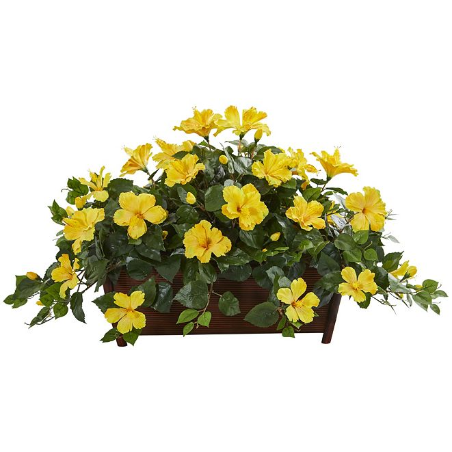 Nearly Natural Hibiscus Artificial Plant in Decorative Planter