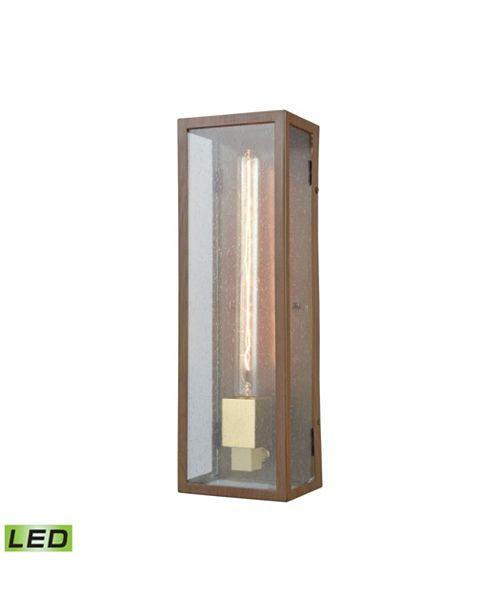 ELK Lighting Mckenzie 1 Outdoor Sconce Dark Wood Print/Brushed Brass