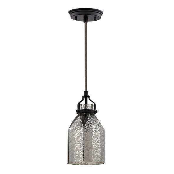 ELK Lighting Danica 1 Light Pendant in Oil Rubbed Bronze and Mercury Glass