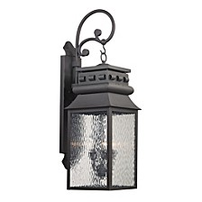 Forged Lancaster Collection 3 light outdoor sconce in Charcoal