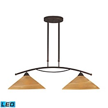 2 Light Island Light in Aged Bronze and Tea Swirl Glass - LED, 800 Lumens (1600 Lumens Total) with F