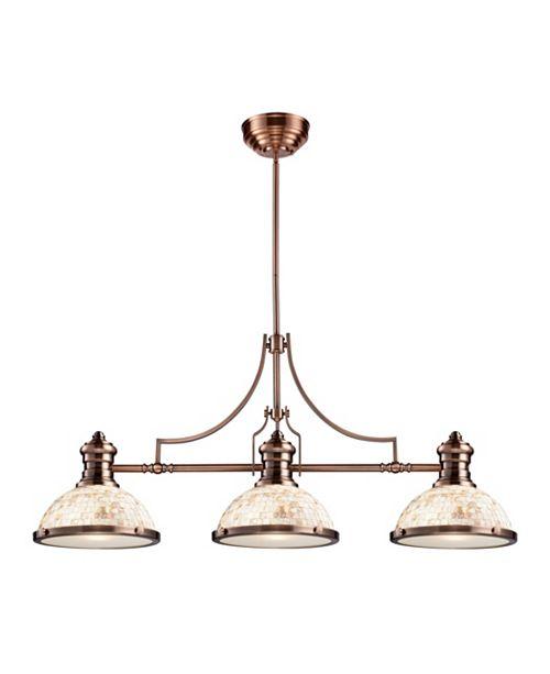 ELK Lighting Chadwick 3-Light Billiard Light Cappa Shell in Antique Copper