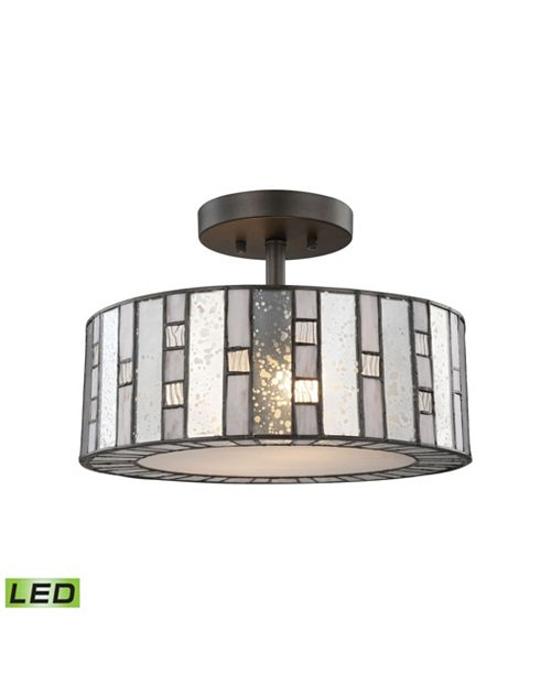 ELK Lighting Ethan 2 Light Semi Flush in Tiffany Bronze with Mercury, Gray, and Clear Rippled Glass
