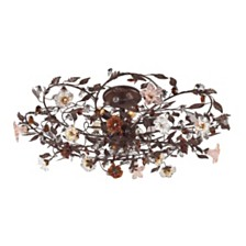 Cristallo Fiore Collection 6-Light Flush Mount in Deep Rust with Crystal Florets