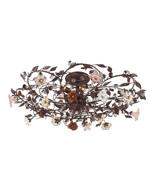 ELK Lighting Cristallo Fiore Collection 6-Light Flush Mount in Deep Rust with Crystal Florets