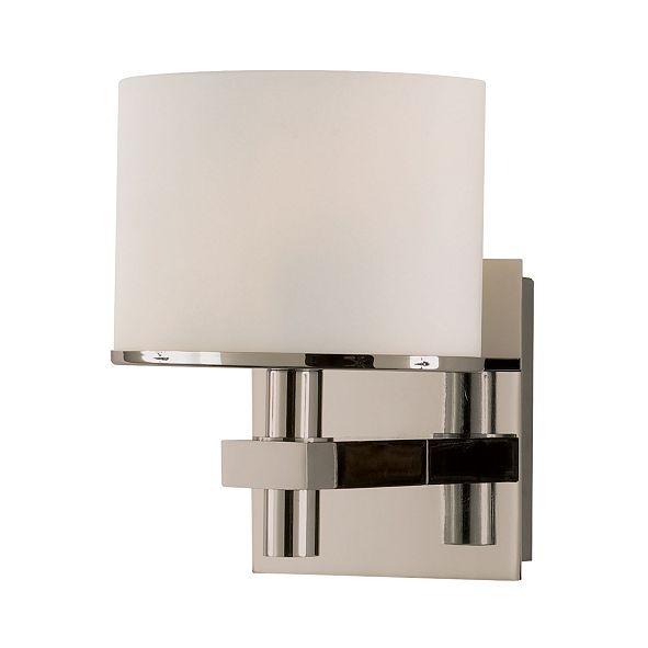 ELK Lighting Ombra Vanity - 1 Light with Lamp. White Opal Glass /Satin Nickel