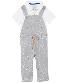 First Impressions Baby Boys 2-Pc. Striped Overalls & Polo Shirt Set, Created for Macy's