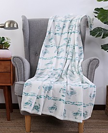 Blanket & Home Co.® Seaside Crab Print Velvety Plush Throw