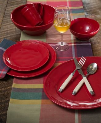 Algarve 4 Piece Red Dinner Plate Set