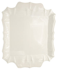 EuroCeramica Chloe White Square Platter with Handles
