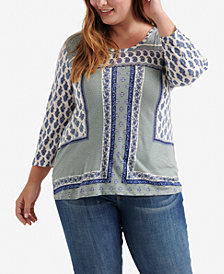 Lucky Brand Plus Size Border-Print Top