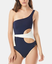 Vince Camuto Colorblocked One-Shoulder One-Piece Swimsuit