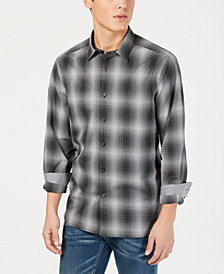 Kenneth Cole New York Men's Performance Stretch Ombré Plaid Shirt