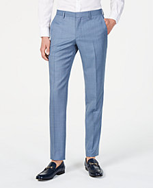 Hugo Boss Men's Modern-Fit Light Blue Mini-Check Suit Pants