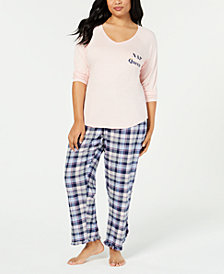 Jenni by Jennifer Moore Plus Top & Printed Pajama Pants, Created for Macy's