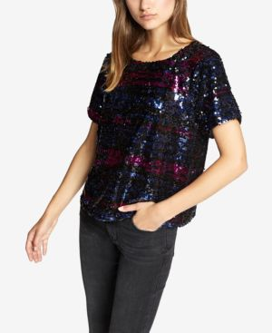 SANCTUARY Saturday Night Sequin Embellished Top in Multi