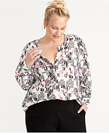 RACHEL Rachel Roy Plus Size Letter-Print Blouse, Created for Macy's