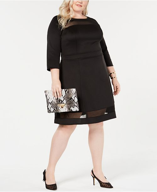 e57883357e304 Love Squared Trendy Plus Size Illusion Fit   Flare Dress   Reviews ...