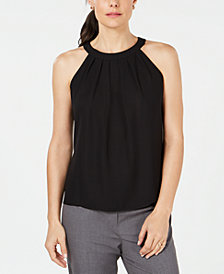 Nine West Pleated Halter-Look Top
