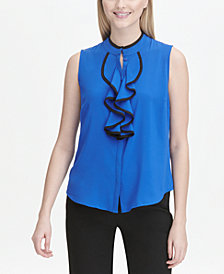 Calvin Klein Piped Ruffle-Front Top
