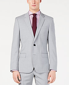 Hugo Boss Men's Modern-Fit Light Gray Sharkskin Suit Jacket