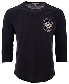 Authentic NFL Apparel Men's Pittsburgh Steelers End Around Three-Quarter Raglan T-Shirt
