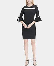 Calvin Klein Colorblocked Flare-Sleeve Sheath Dress