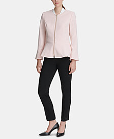 DKNY Peplum Scuba Crepe Zip Jacket, Created for Macy's