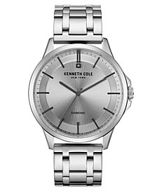 Kenneth Cole New York Men's Diamond Silver Bracelet Watch 44mm