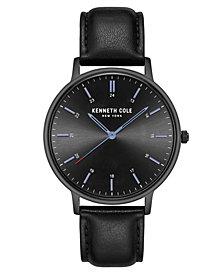 Kenneth Cole New York Men's Slim Black Leather Strap Watch 42mm