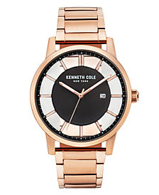 Kenneth Cole New York Men's Transparent Rosegold Tone Bracelet Watch  44mm