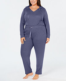 Alfani Plus Size Ribbed Hacci Sweater-Knit Pajama Hoodie, Created for Macy's