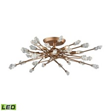 Serendipity 6 Light Semi Flush in Matte Gold with Clear Bubble Glass