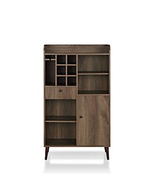 Alzon Distressed Walnut Wine Cabinet