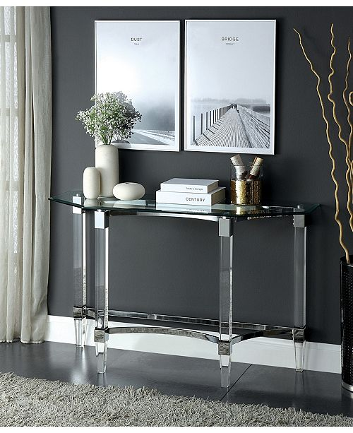 Furniture of America Jourdan Glass Top Sofa Table