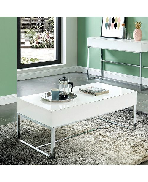 Furniture of America Didly Contemporary Chrome Trestle Base Coffee Table