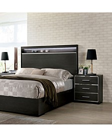 Henly Chrome-Trimmed 3-Drawer Nightstand