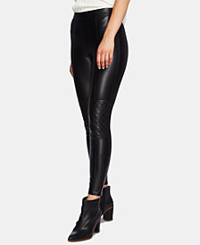 1.STATE Quilted-Knee Faux-Leather Leggings