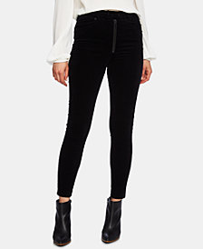 1.STATE Exposed Zipper Corduroy Skinny Pants